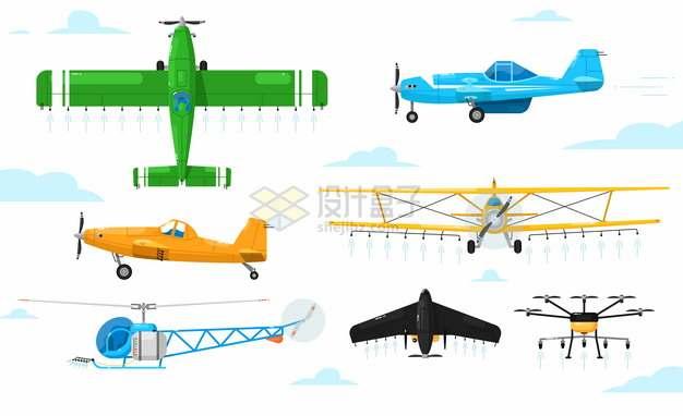 各种卡通飞机直升机双翼机906202png图片素材