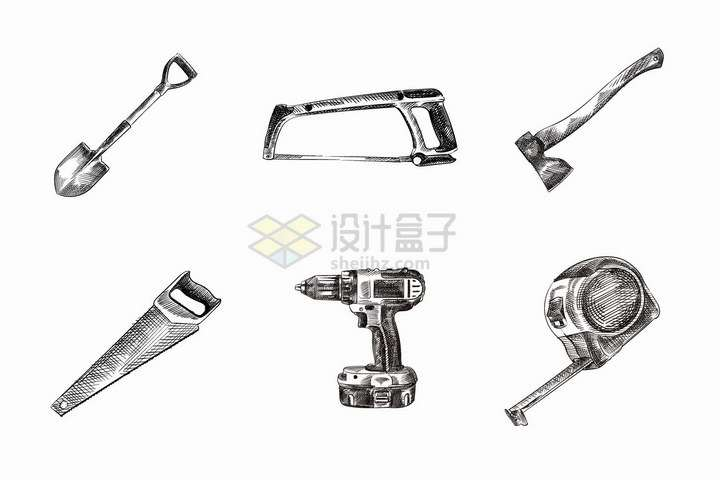 铁锹手锯斧头电钻卷尺等手绘素描手工工具png图片免抠矢量素材