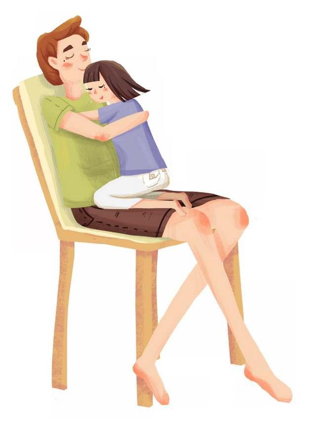 爸爸坐在椅子上女孩趴在怀里父亲节356890png图片素材