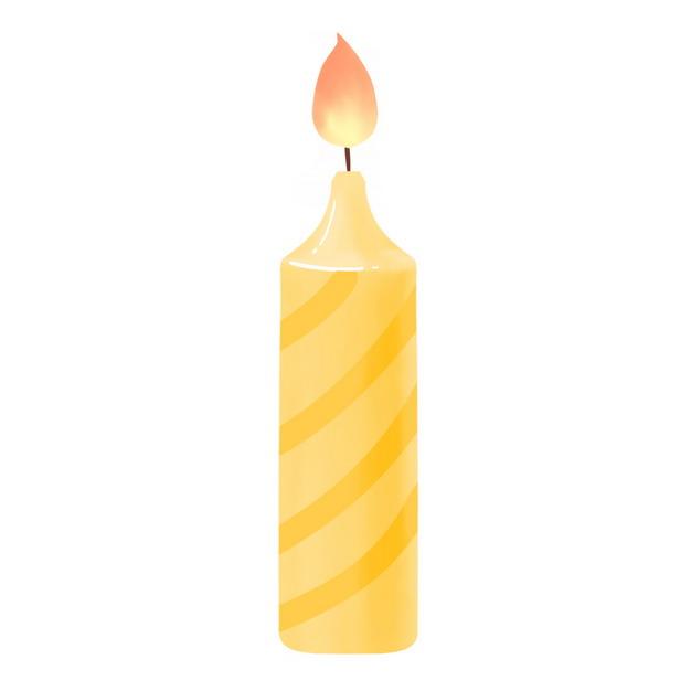 黄橙色条纹的生日蜡烛7964301png图片素材 生活素材-第1张