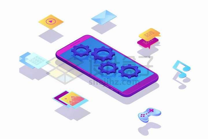紫色手机周围的各种视频图片音乐聊天邮件应用图标png图片免抠矢量素材