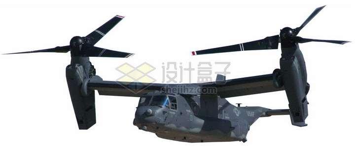 起飞状态的V-22倾转旋翼机鱼鹰运输直升机png图片免抠素材