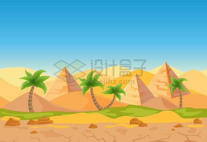 卡通风格埃及金字塔沙漠和棕榈树风景png图片免抠矢量素材
