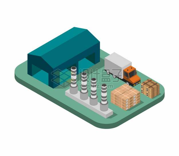 2.5D风格工厂仓库和货车货物664647png图片矢量图素材