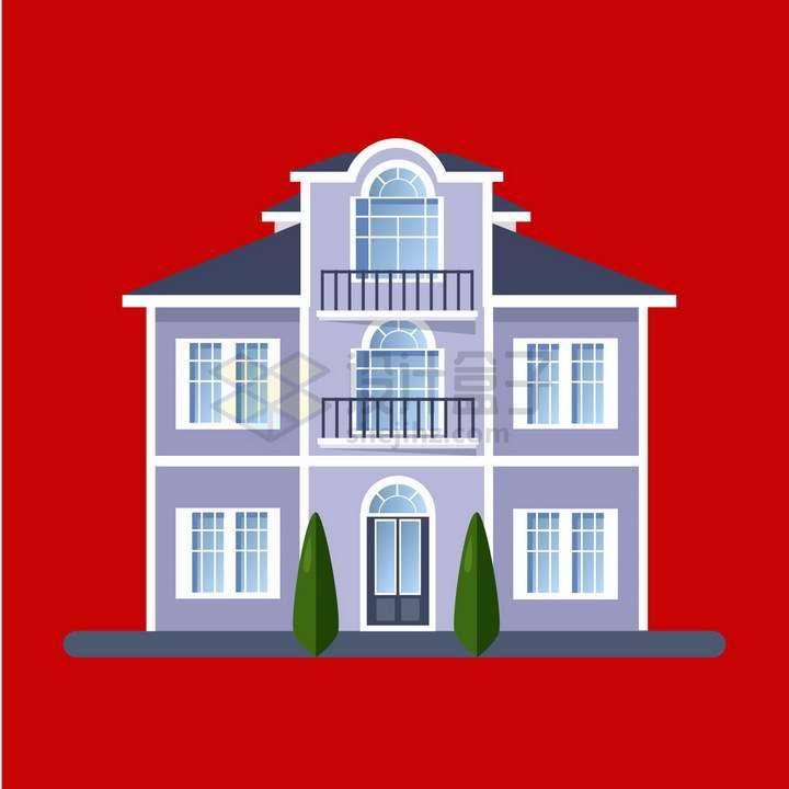 比较大的三层别墅扁平化房子png图片免抠矢量素材