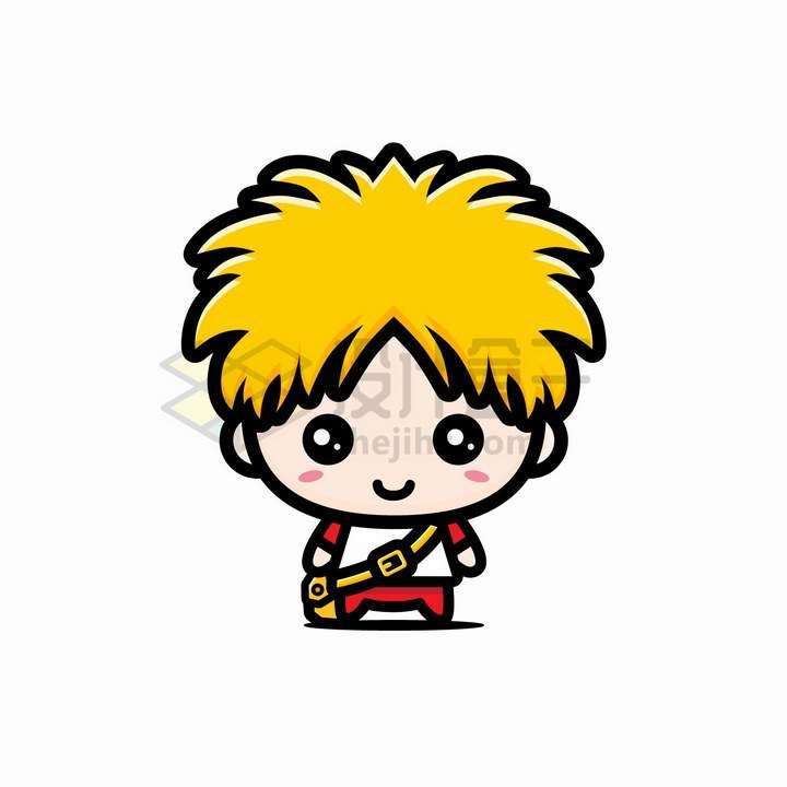 超可爱大头黄头发卡通男孩人物png图片免抠矢量素材