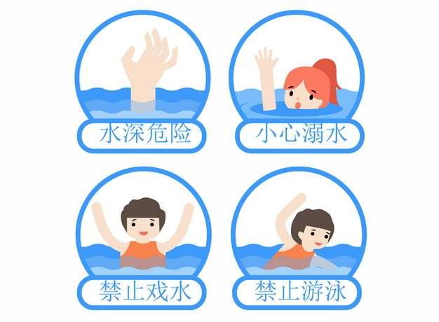 水深危险小心溺水禁止戏水游泳标识牌715026png图片AI矢量图素材