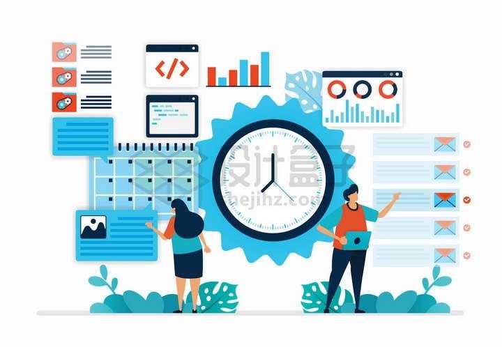 扁平插画风格商务人士时间管理和项目策划管理png图片免抠矢量素材