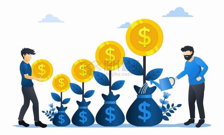 浇灌金钱树摇钱树的商务人士扁平插画png图片免抠矢量素材