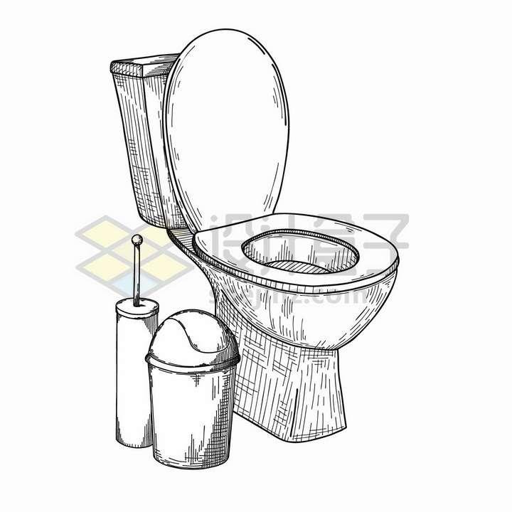 手绘素描风格抽水马桶皮橛子和垃圾桶png图片免抠矢量素材