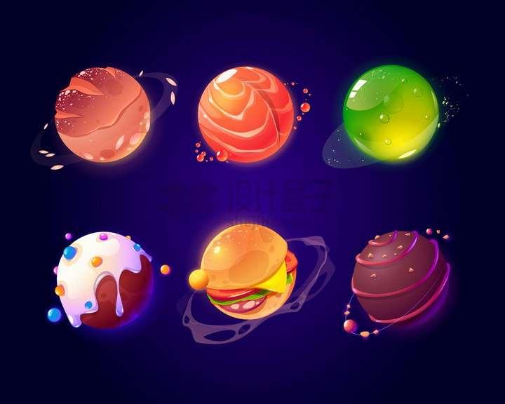 6款创意水晶风格汉堡巧克力冰淇淋面包质感的糖果星球png图片免抠eps矢量素材