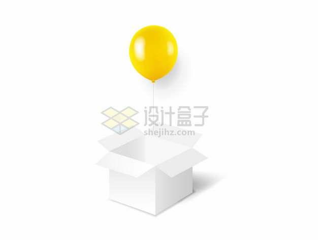 打开的白色盒子中飞出来的黄色气球png图片矢量图素材