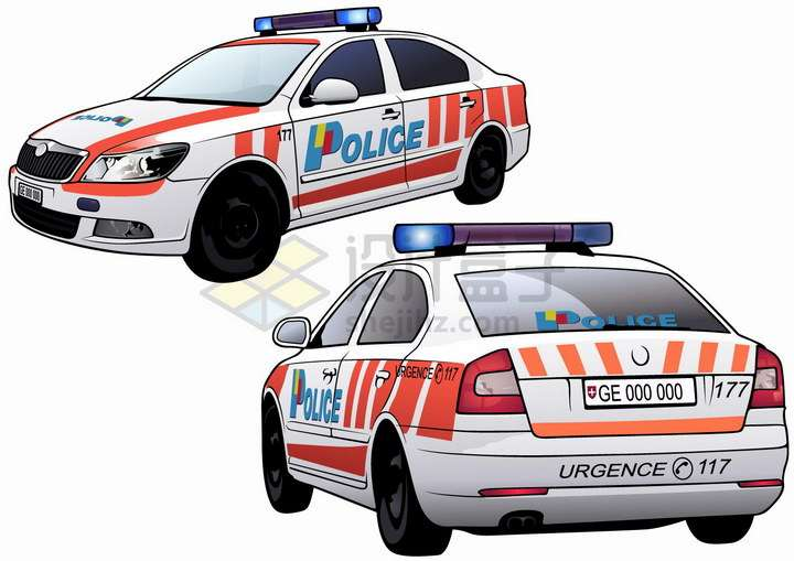 国外红色涂装的警车png图片免抠矢量素材