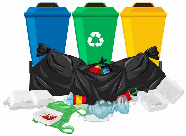 三个垃圾桶和垃圾袋垃圾处理手抄报png图片免抠eps矢量素材 生活素材-第1张