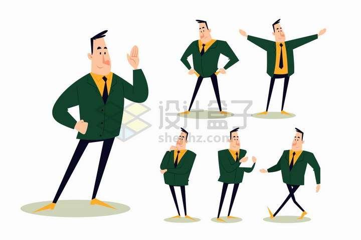 6款不同姿势的卡通老板商务人士png图片免抠矢量素材