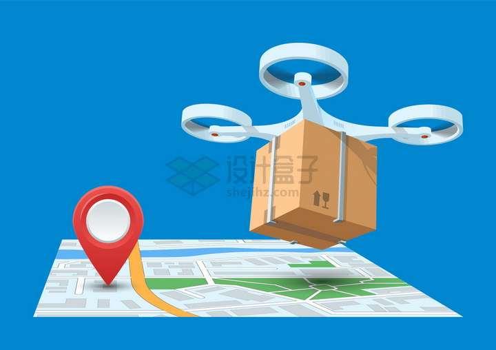 无人机送货快递地图和定位标志png图片免抠矢量素材