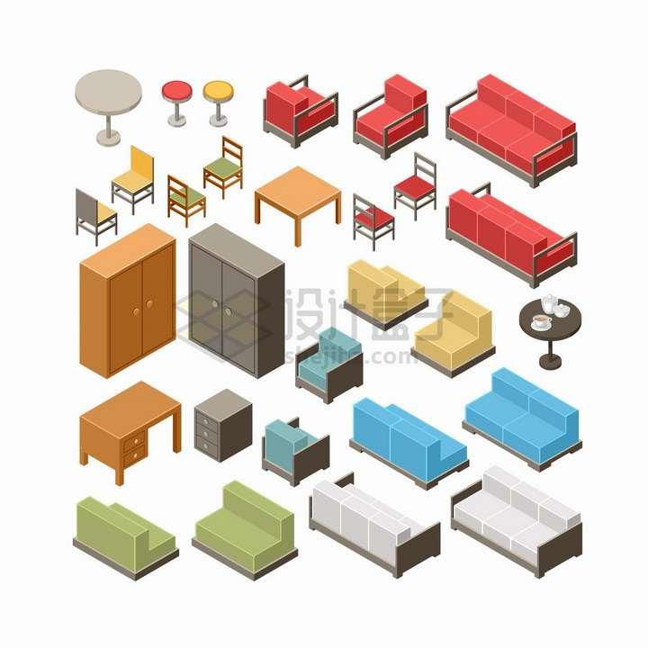 2.5D风格圆桌椅子沙发橱柜桌子等家具png图片免抠矢量素材