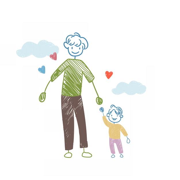 爸爸牵着孩子的手儿童彩绘涂鸦插画499031png图片素材 人物素材-第1张