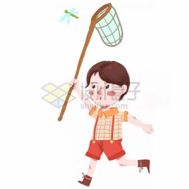 卡通小男孩捕捉蜻蜓等小昆虫彩绘插画png免抠图片素材