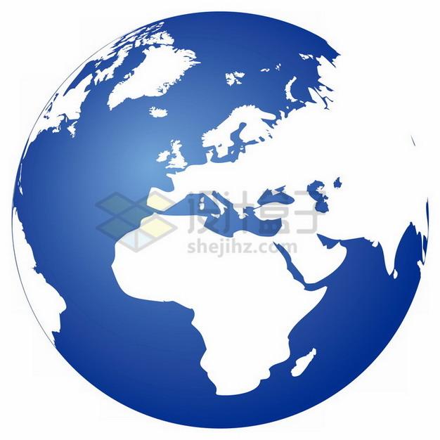 白色大陆蓝色海洋地球图案定位在非洲欧洲大陆png免抠图片素材 科学地理-第1张
