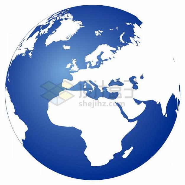白色大陆蓝色海洋地球图案定位在非洲欧洲大陆png免抠图片素材