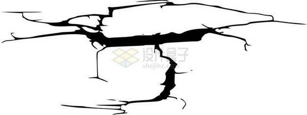 黑色墙壁干裂龟裂的土地黑色裂纹裂缝图案7083265png图片素材