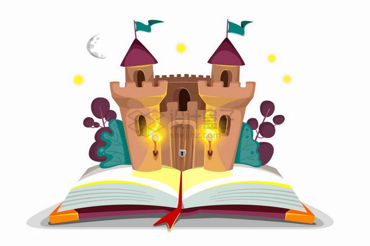 打开书本上的卡通童话城堡png图片免抠矢量素材 教育文化-第1张
