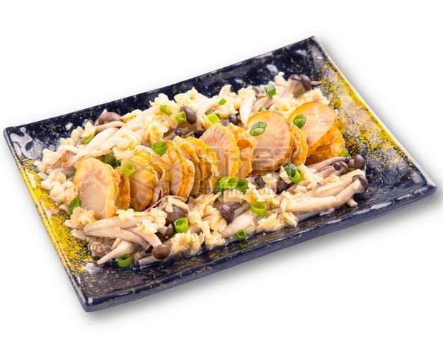 蒜蓉牛油野菌帆立贝扇贝日式料理png图片素材