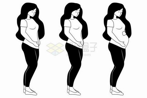 手绘风格孕妇怀孕后腹部肚子慢慢变大png图片免抠矢量素材 人物素材-第1张