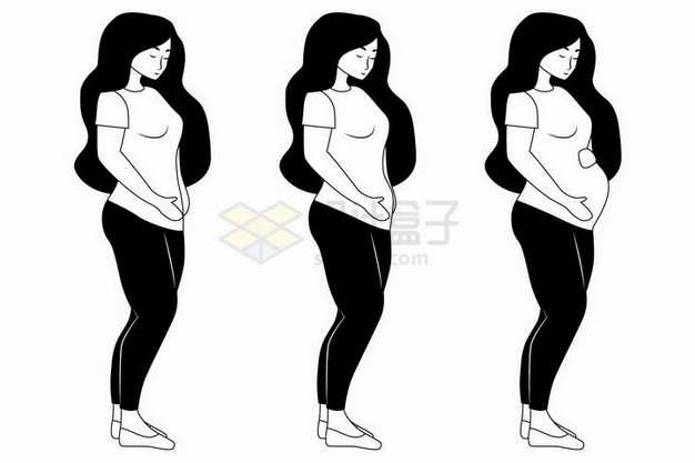 手绘风格孕妇怀孕后腹部肚子慢慢变大png图片免抠矢量素材