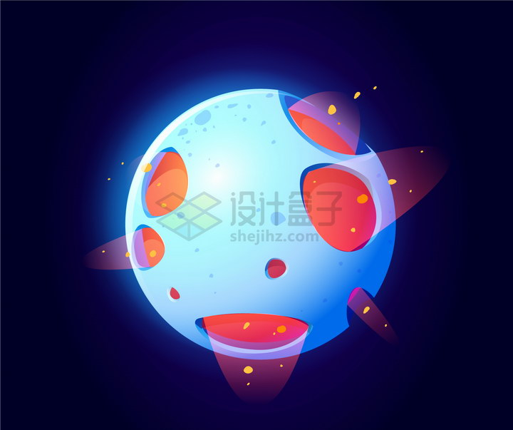 可爱的发出红光的蓝色卡通星球png图片免抠eps矢量素材