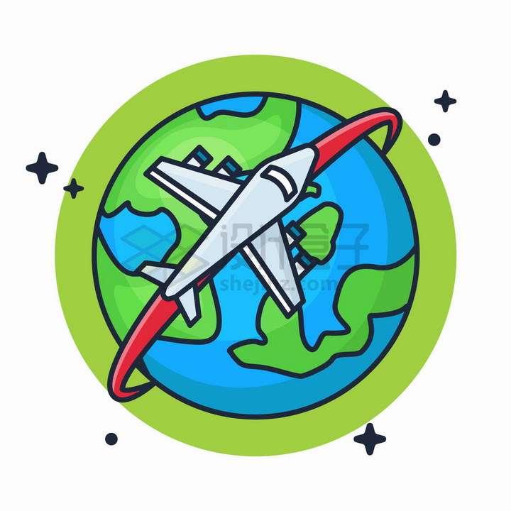 卡通风格飞机环球旅行图标png图片免抠矢量素材