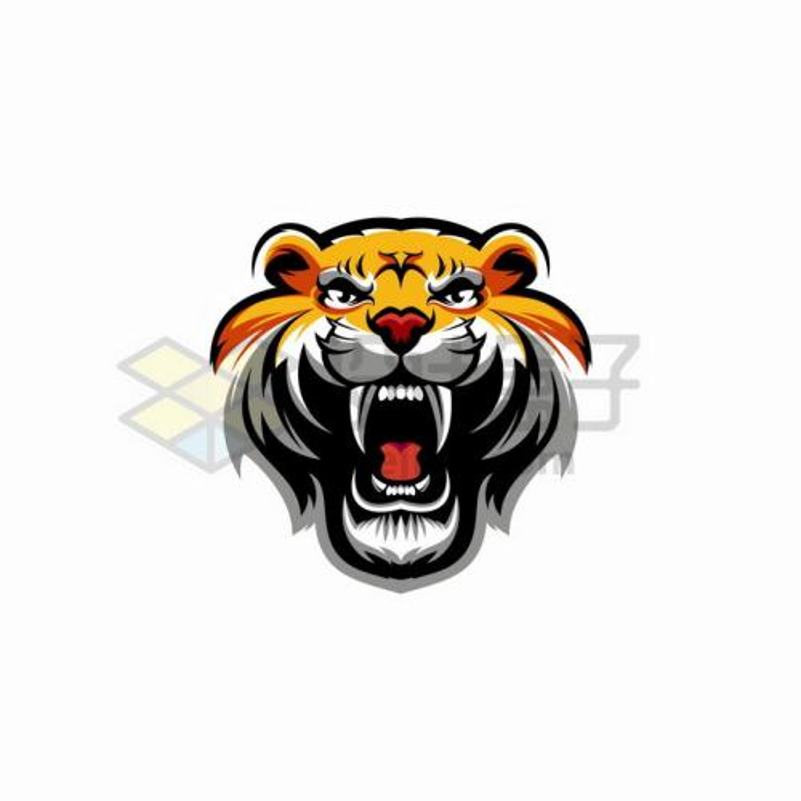 老虎头标志logo设计方案png图片免抠矢量素材
