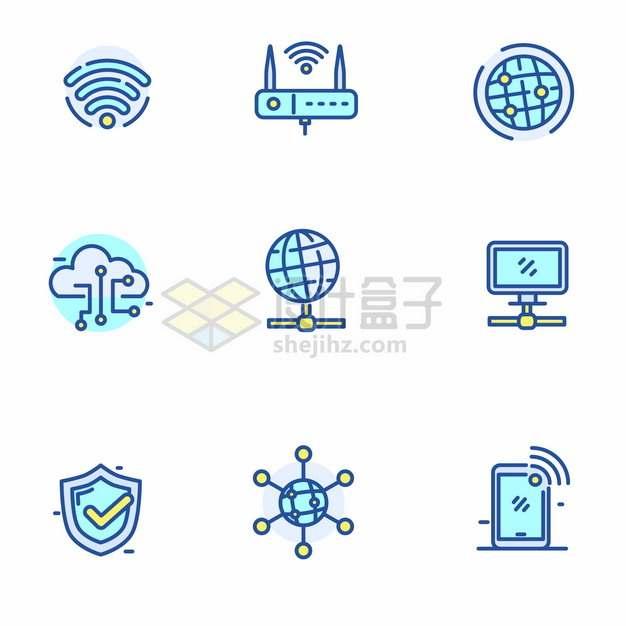 蓝绿色MBE风格wifi无线云计算服务icon图标png图片矢量图素材