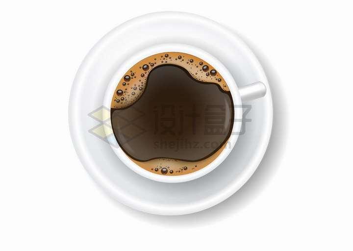 冒着淡淡泡沫的咖啡杯俯视图png图片免抠矢量素材