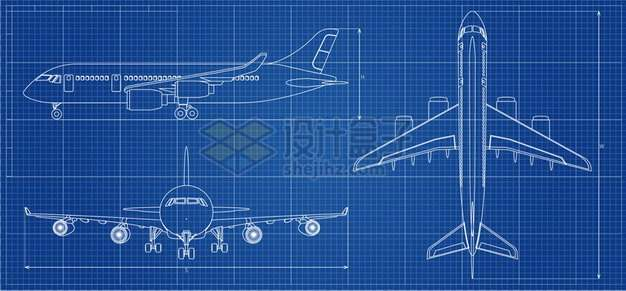 大型客机飞机设计图纸蓝图158974 png图片素材