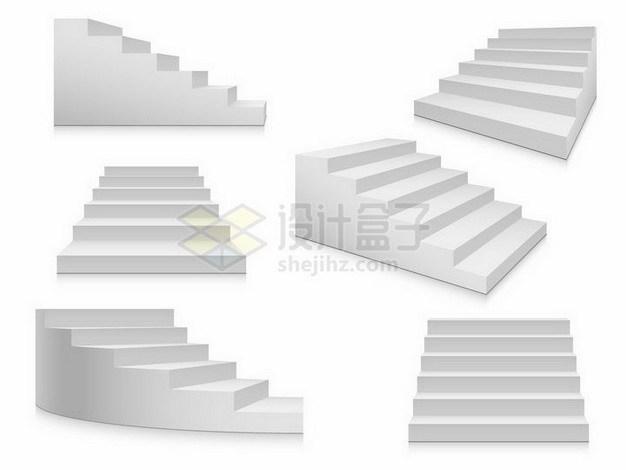 6款不同角度形状的灰白色台阶png图片免抠矢量素材 生活素材-第1张