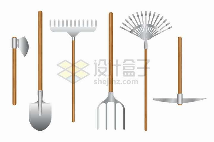 各种斧头铁锹耙子叉子等农业农具png图片免抠矢量素材