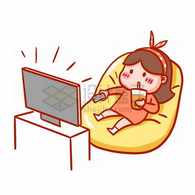 坐在懒人沙发上看电视的卡通女孩宅女表情包png免抠图片素材 表情包-第1张
