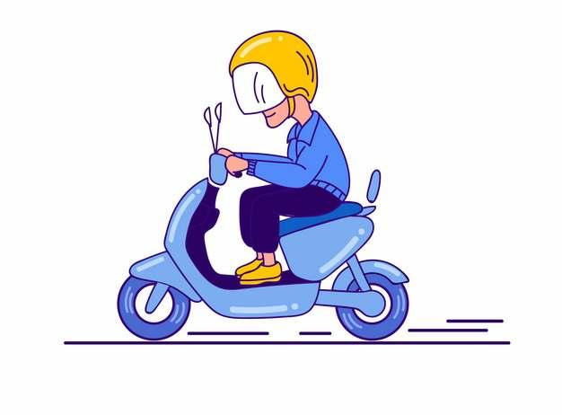 卡通男人带头盔骑电动车538681png图片AI矢量图素材