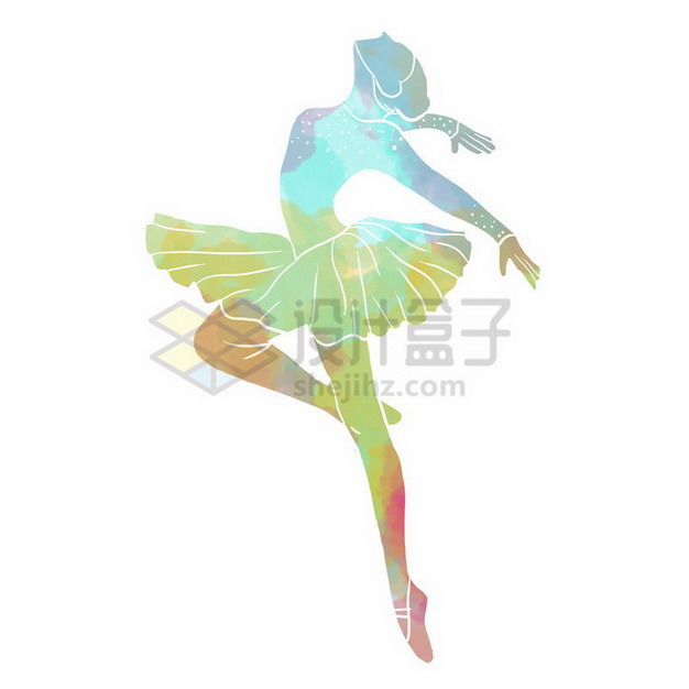 芭蕾舞美女彩色涂鸦7643721png免抠图片素材 人物素材-第1张