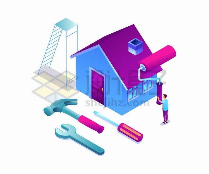 2.5D风格房屋装修维护维修png图片免抠矢量素材