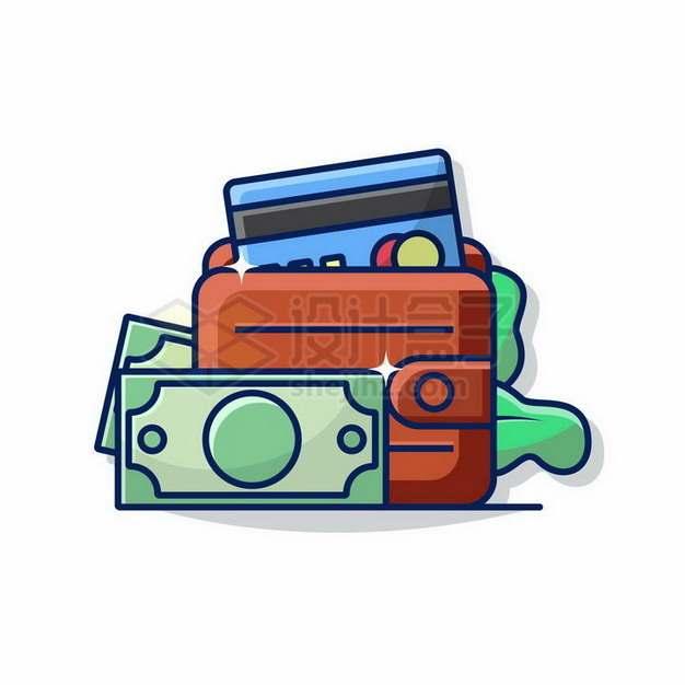MBE风格美元钞票和钱包png图片免抠矢量素材