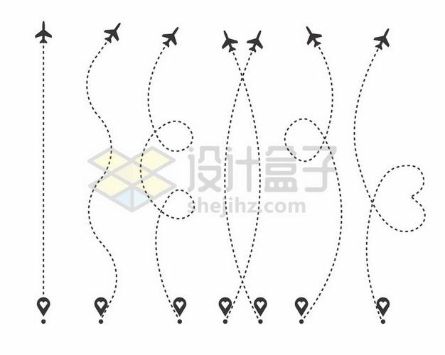 定位标志虚线和飞机线路线条png图片素材 线条形状-第1张