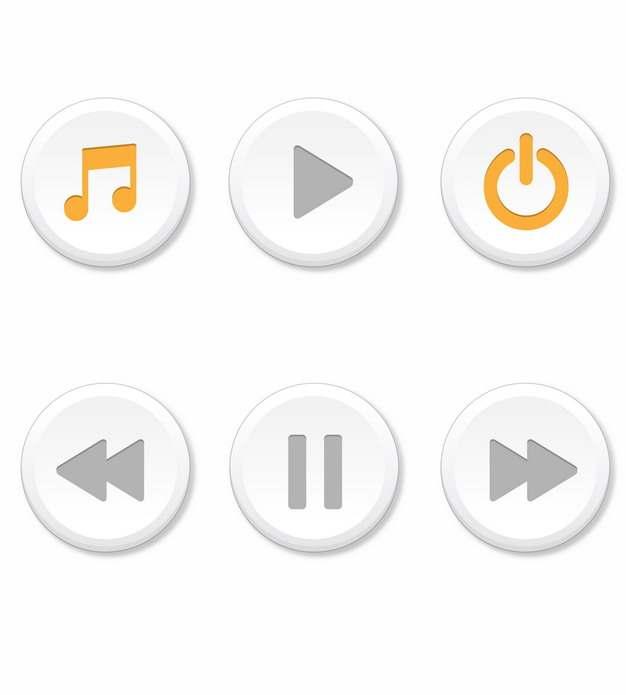 6款圆形音乐播放器按钮584784AI矢量图片素材