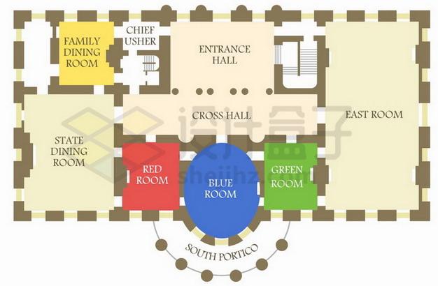 美国白宫建筑平面结构设计图png图片素材 建筑装修-第1张