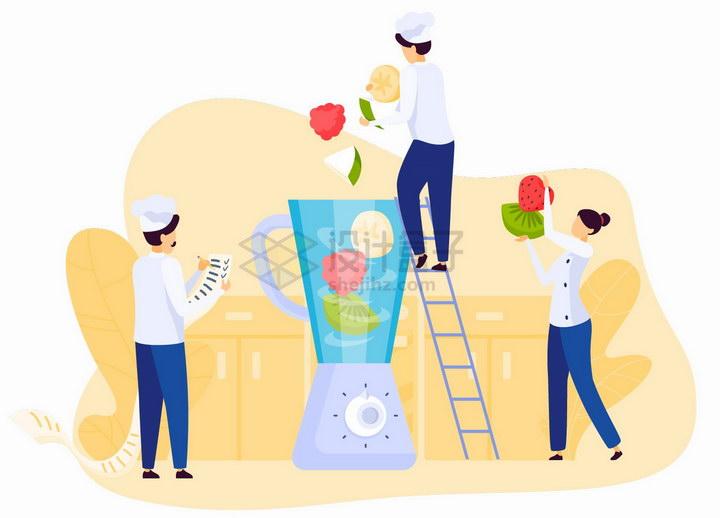 厨师爬梯子将水果扔进榨汁机中制造果汁扁平插画png图片免抠矢量素材 生活素材-第1张