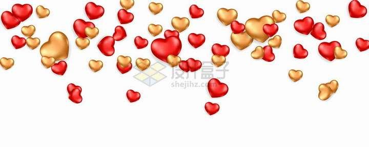 飘落的红色金色红心爱心装饰png图片免抠矢量素材