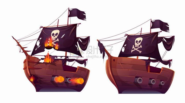 卡通复古海盗船正在相互开火png图片免抠eps矢量素材 交通运输-第1张