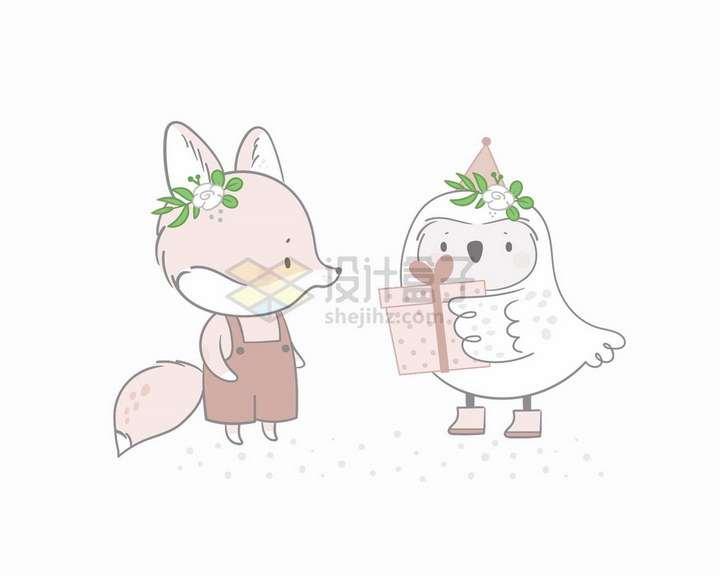 卡通猫头鹰送礼物给小狐狸童话故事儿童插画png图片免抠矢量素材